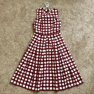 Fit and Flare Checkered Vintage Style Dress